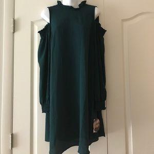 NWT cold shoulder hunter green dress